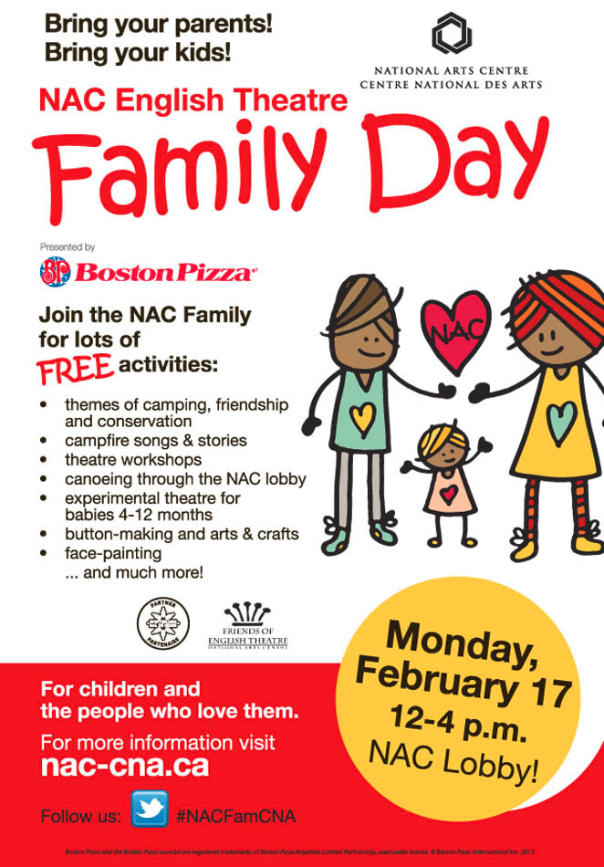 The National Arts Centre will be hosting family activities in the lobby on Monday February 17 from noon until 4 pm