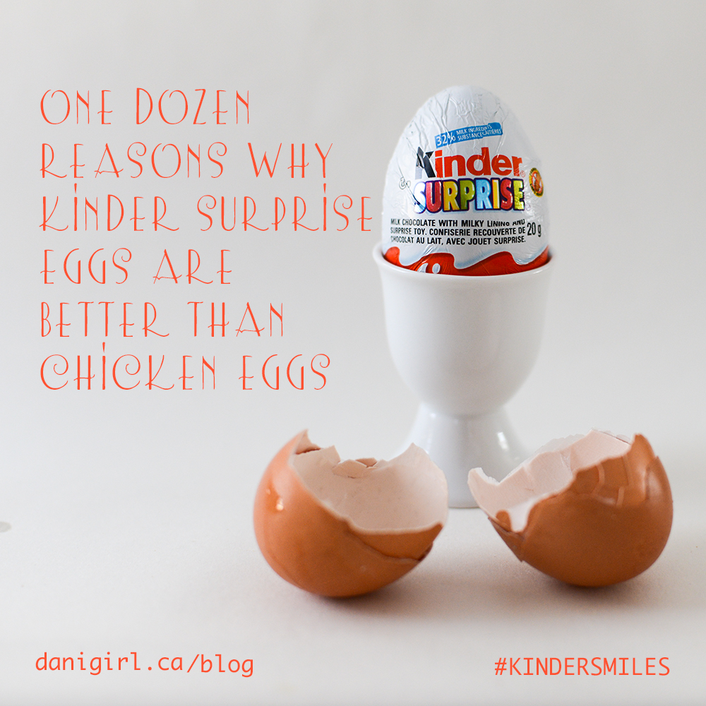 Blog post title graphic: One dozen reasons why kinder eggs are better than chicken eggs