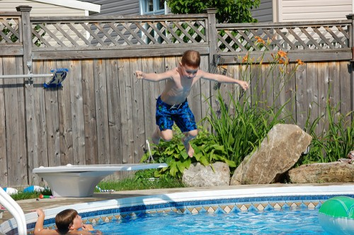 Six year old Tristan on a much more appropriately-sized diving board!