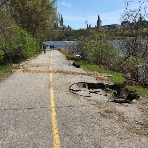 Photo of sinkhole in bike path by Danielle Donders