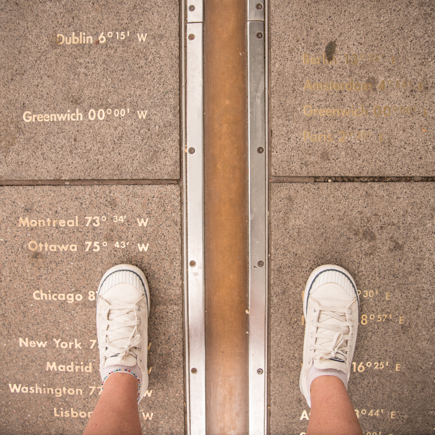 Feet on the Prime Meridian