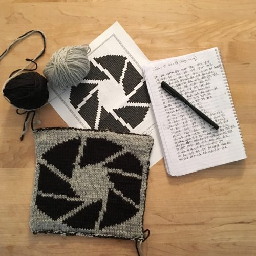 notes and yarn and blanket square