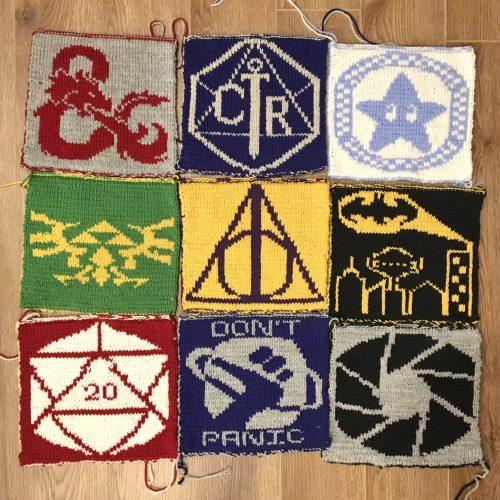 fandom knit blanket squares
