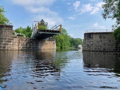 Burritts Rapids bridge opening as seen from kayak