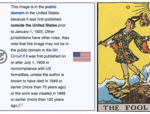 Image of copyright text and the fool tarot card