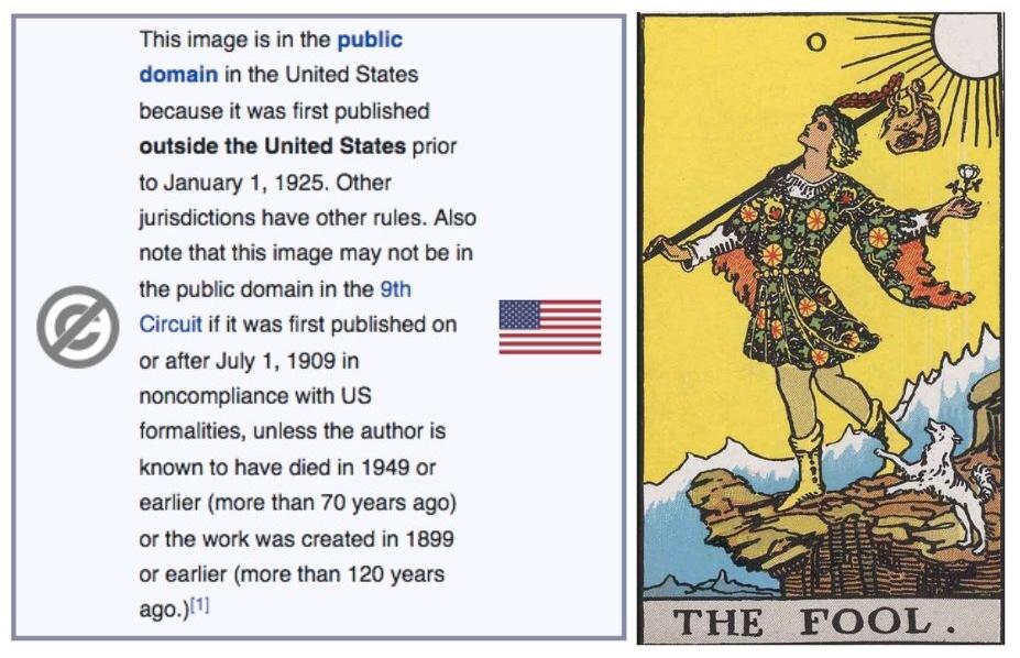 Image of copyright text and the fool tarot card